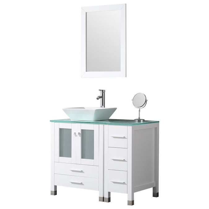 Wonline 36 In White Double Sink Bathroom Vanity With White Wood Top Mirror And Faucet Included In The Bathroom Vanities With Tops Department At Lowes Com