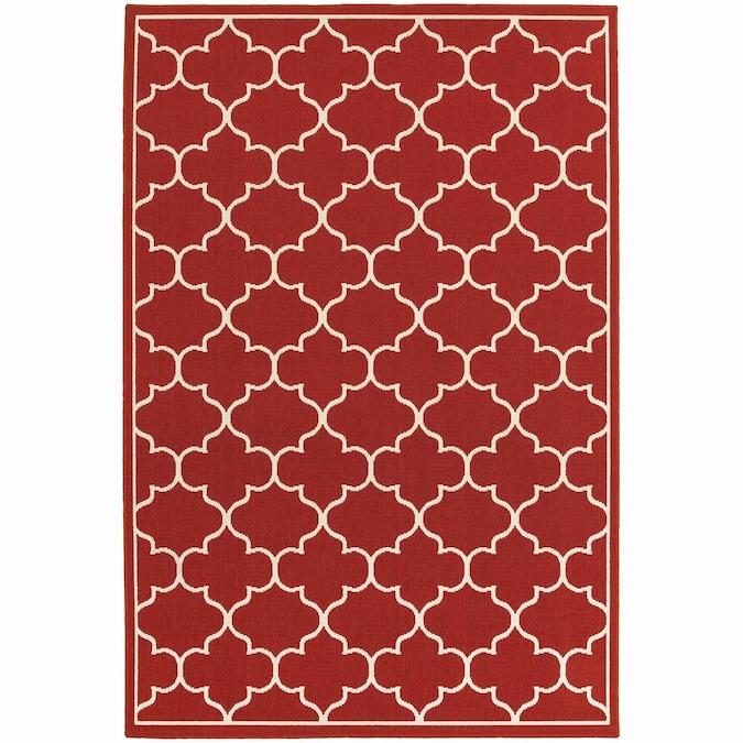 Red Indoor Or Outdoor Trellis Area Rug, Indoor Outdoor Rugs 8 X 10