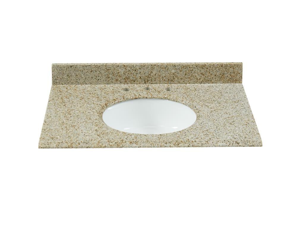 Bestview 37 In Desert Gold Granite Single Sink Bathroom Vanity Top In The Bathroom Vanity Tops Department At Lowes Com
