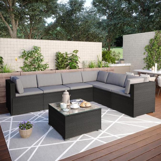 Clihome Outdoor Furniture 7 Piece Metal, Outdoor Conversation Furniture