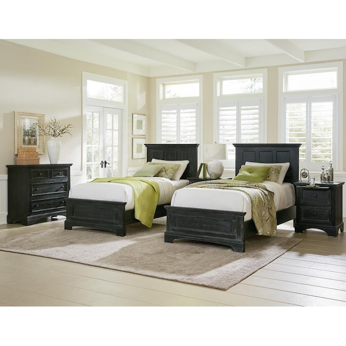 Osp Home Furnishings Farmhouse Basics Rustic Black Twin Bedroom Set In The Bedroom Sets Department At Lowes Com