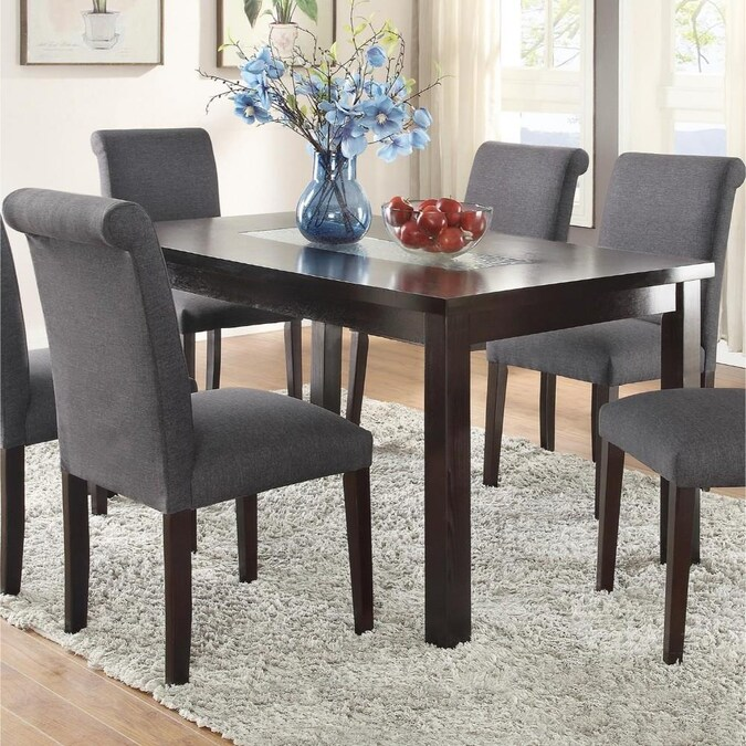 Benzara Brown Dining Table Glass Top, Glass Dining Room Table With Wood Base