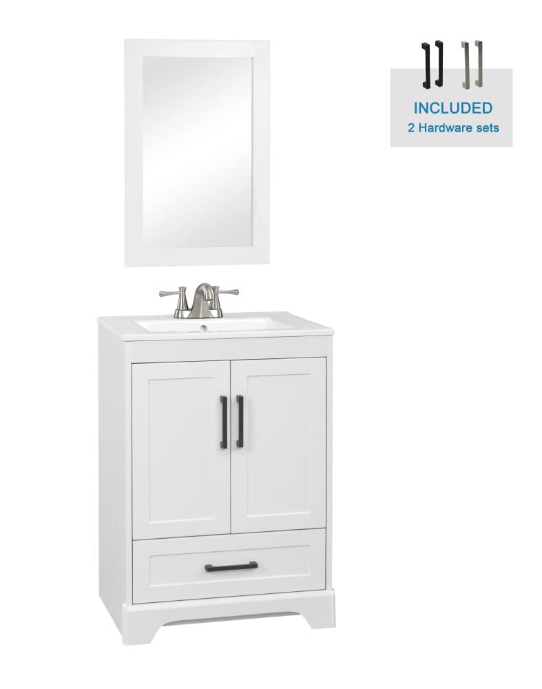Style Selections Savannah 24-in White Single Sink Bathroom Vanity With White  Porcelain Top (Mirror Included) In The Bathroom Vanities With Tops  Department At Lowes.com
