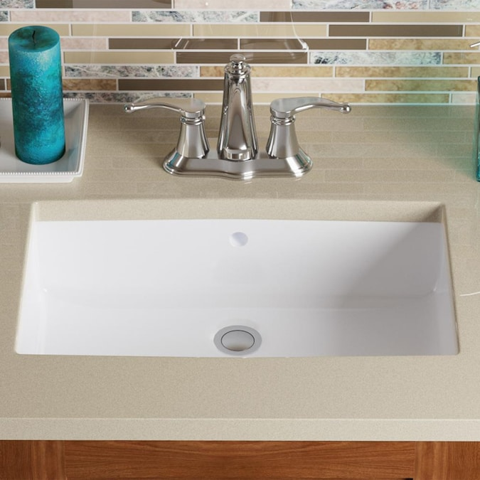Mr Direct White Porcelain Undermount Rectangular Bathroom Sink With Overflow Drain 21 5 In X 14 13 In In The Bathroom Sinks Department At Lowes Com