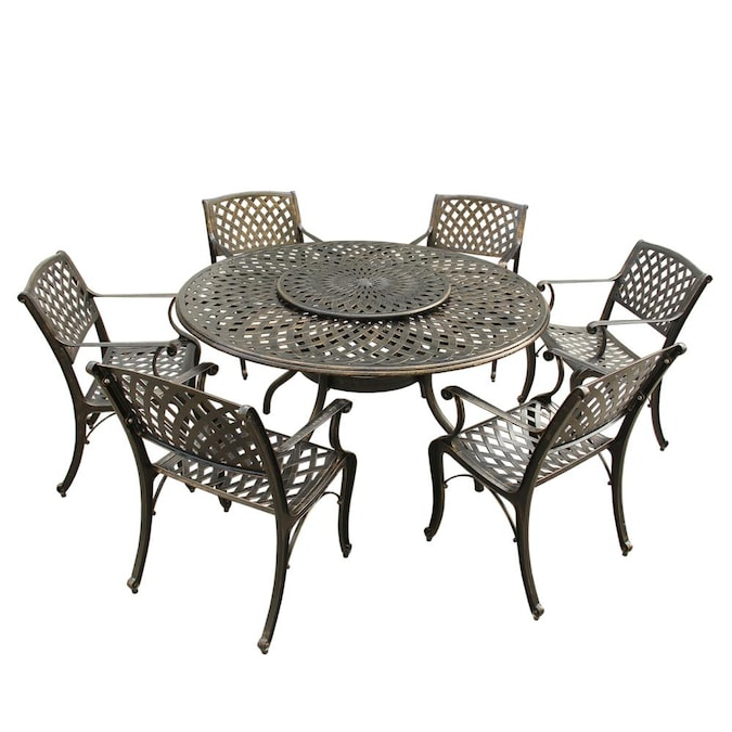 Oakland Living In The Patio Dining Sets, Round Outdoor Dining Table With Lazy Susan