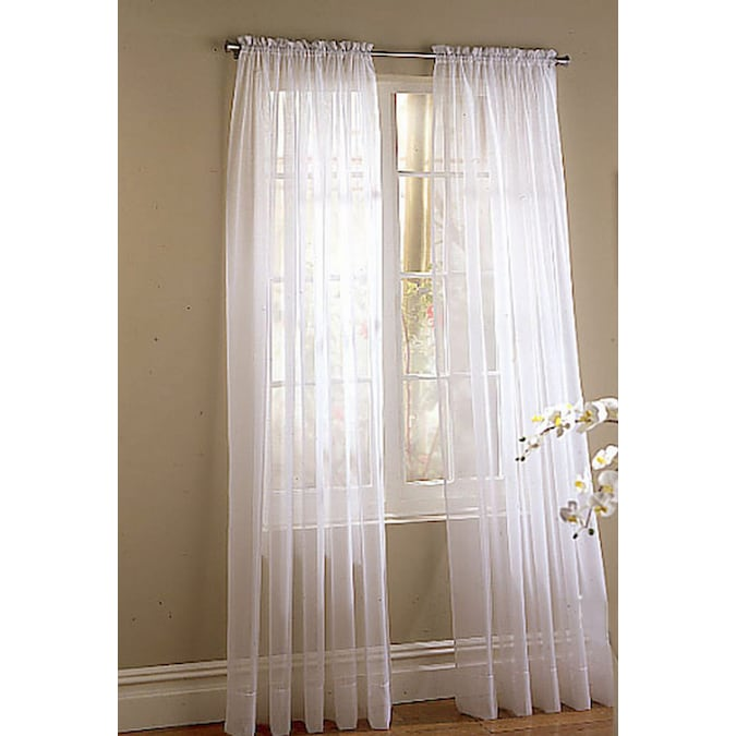 White Polyester Sheer Rod Pocket, Double Rod Pocket Sheer Curtains