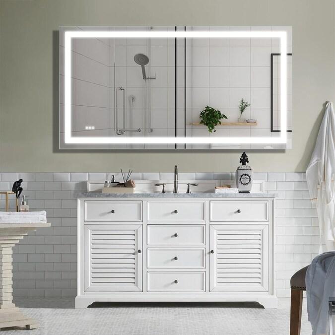 Casainc Frameless Led Bathroom Mirror, Frameless Vanity Mirror 72 Inches