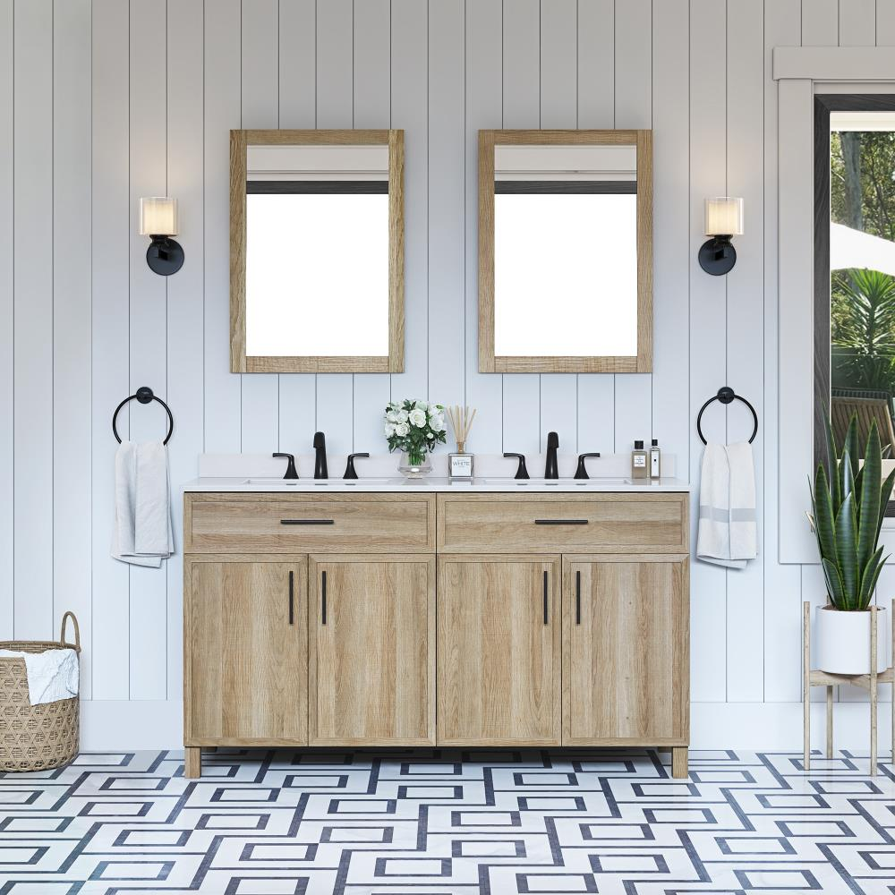 Style Selections Dolton 60 In Natural Oak Undermount Double Sink Bathroom Vanity With White Engineered Stone Top Mirror Included In The Bathroom Vanities With Tops Department At Lowes Com