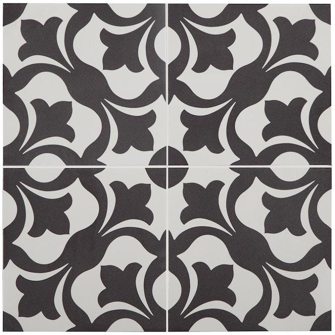 Stainmaster Florence Black And White 9, Black And White Tile Flooring Vinyl