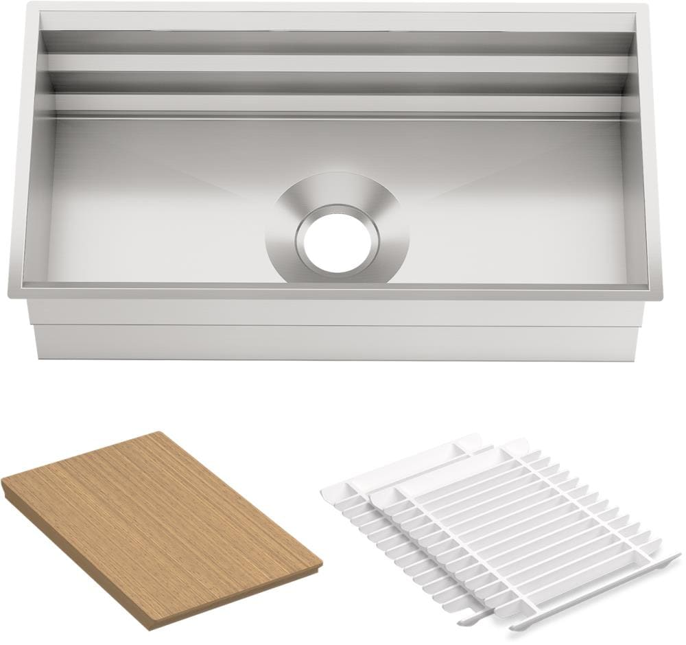 Kohler Prolific Undermount 33 In X 17 75 In Stainless Steel Single Bowl Workstation Kitchen Sink In The Kitchen Sinks Department At Lowes Com