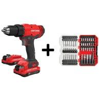 Craftsman 20V 1/2-in Cordless Drill Driver w/47Pc Screwdriver Set Deals