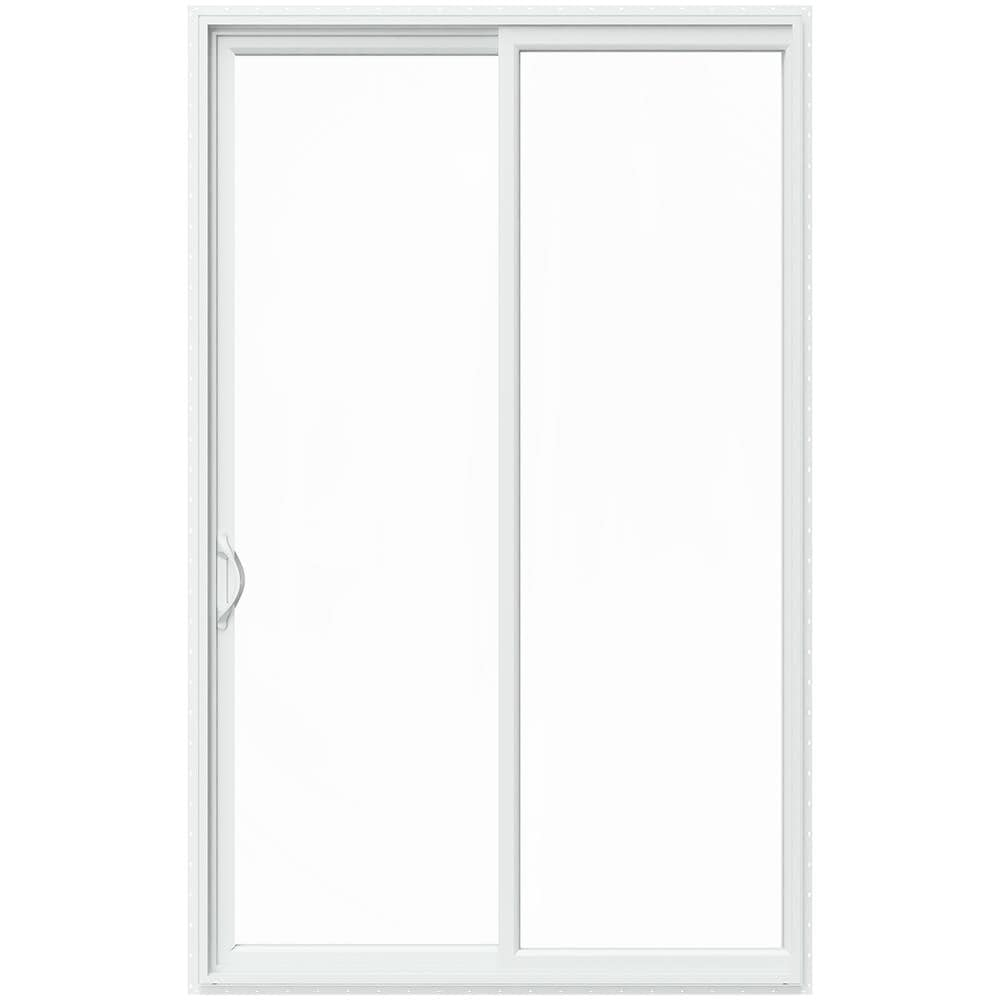 JELD-WEN 96-in x 80-in Double Strength Clear Glass White Vinyl Left-Hand Sliding Prehung Double Door Sliding Patio Door Screen Included -  LOWOL156200110