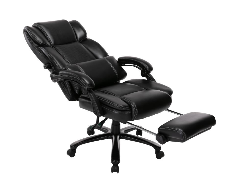 Gzmr Big And Tall Reclining Office Chair High Back Executive Computer Desk Chair With Adjustable Built In Lumbar Support Angle Recline Locking System And Footrest Thick Padding For Comfort In The Office