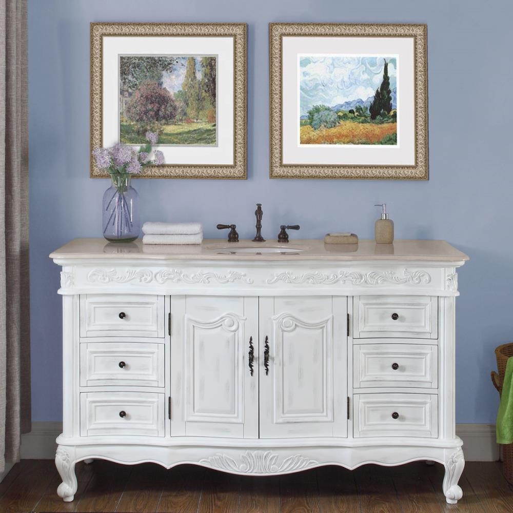 Silkroad Exclusive 60 In Antique White Undermount Single Sink Bathroom Vanity With Crema Marfil Natural Marble Top In The Bathroom Vanities With Tops Department At Lowes Com