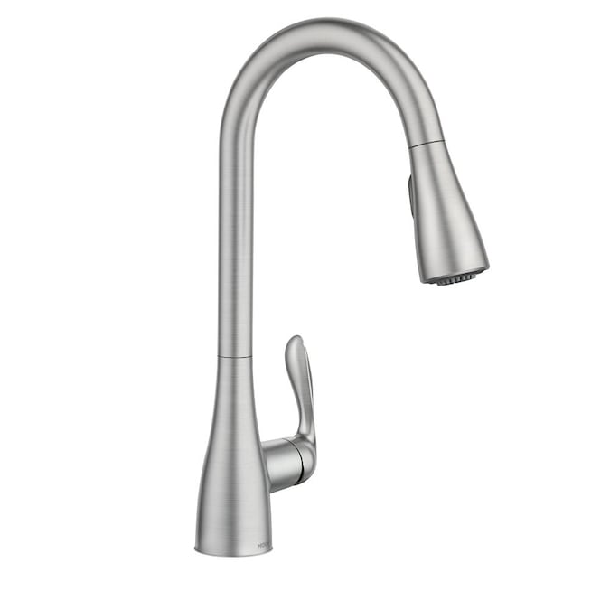 Moen Georgene Spot Resist Stainless 1 Handle Deck Mount Pull Down Kitchen Faucet Plate Included In The Faucets Department At Lowes