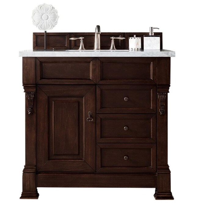 James Martin Vanities Brookfield 36 In Burnished Mahogany Undermount Single Sink Bathroom Vanity With Carrara White Marble Top In The Bathroom Vanities With Tops Department At Lowes Com