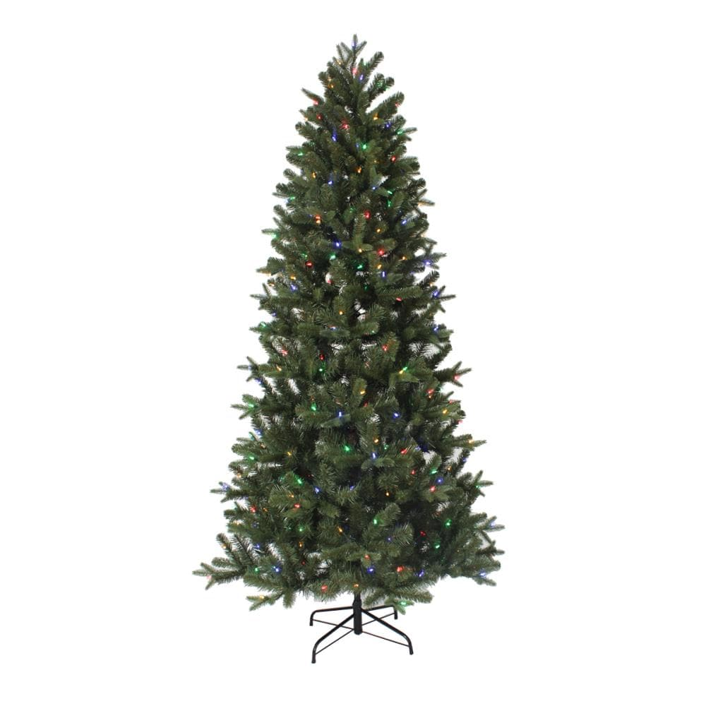 Holiday Living 12.12 ft Greenville Fir Pre Lit Slim Artificial Christmas Tree  with 3120 Color Changing Color Changing LED Lights