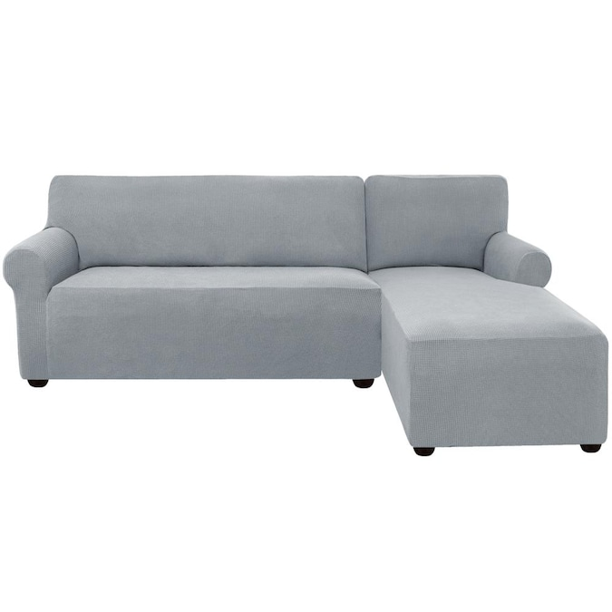 Subrtex L Shaped Right Chaise Textured, Light Grey Sofa Slipcover
