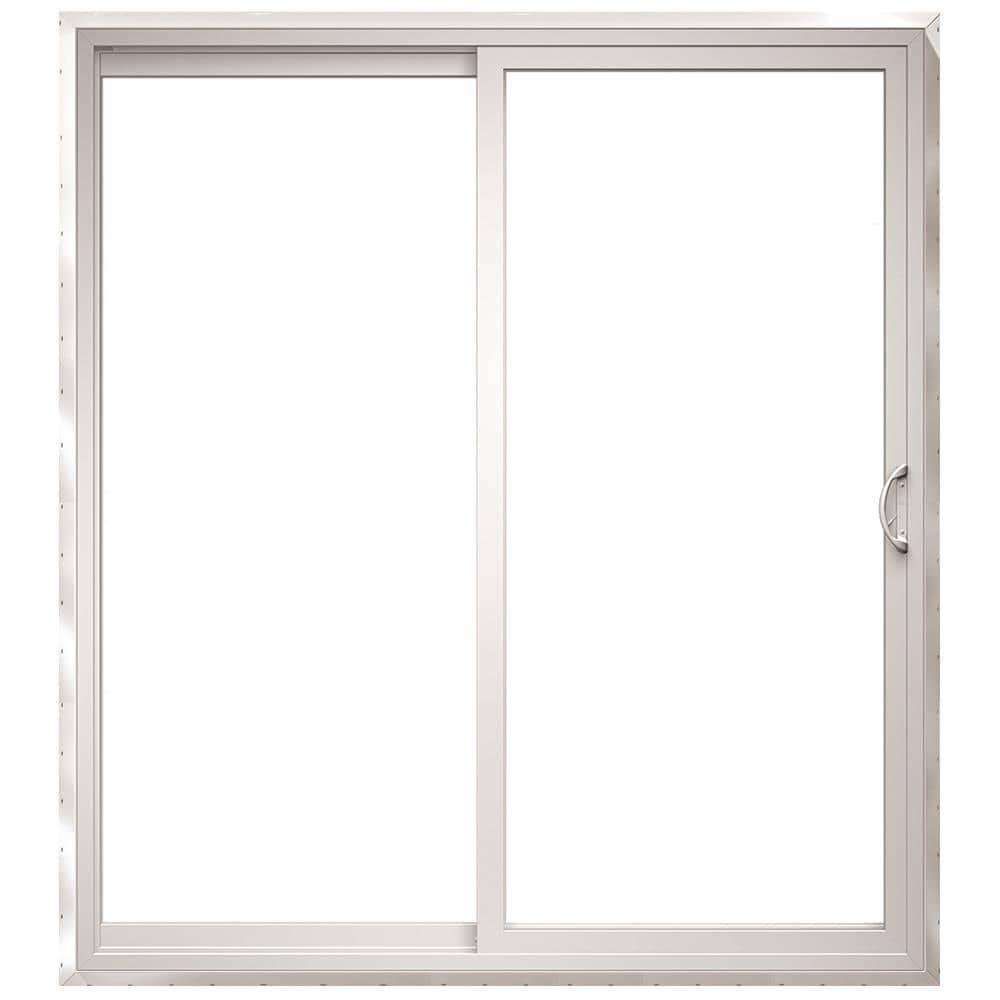 150 Series 72-in x 96-in Tempered Clear Glass White Vinyl Left-Hand Sliding Prehung Double Door Sliding Patio Door   - Pella 1000010190