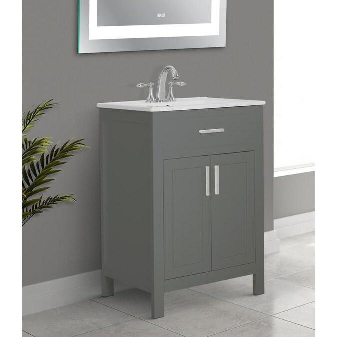 Gray Single Sink Bathroom Vanity With, Bathroom Vanity Sink Tops 24 Inch