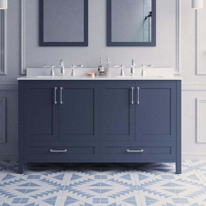 Style Selections Edwards 60 In Dark Charcoal Undermount Double Sink Bathroom Vanity With White Engineered Stone Top In The Bathroom Vanities With Tops Department At Lowes Com