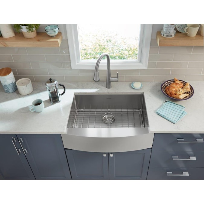American Standard Suffolk Farmhouse Apron Front 30 In X 22 In Stainless Steel Single Bowl Kitchen Sink With Drainboard In The Kitchen Sinks Department At Lowes Com