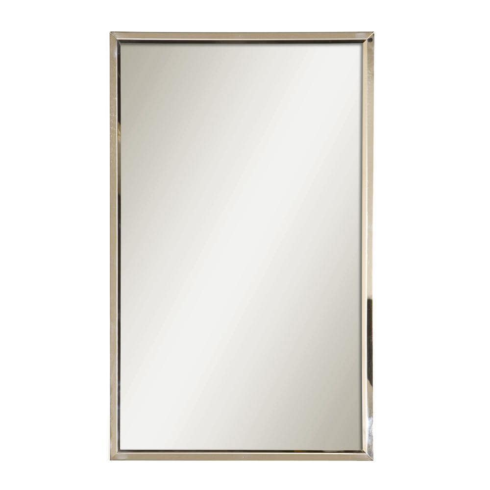 Style Selections 30 In L X 18 In W Polished Stainless Steel Polished Wall Mirror In The Mirrors Department At Lowes Com