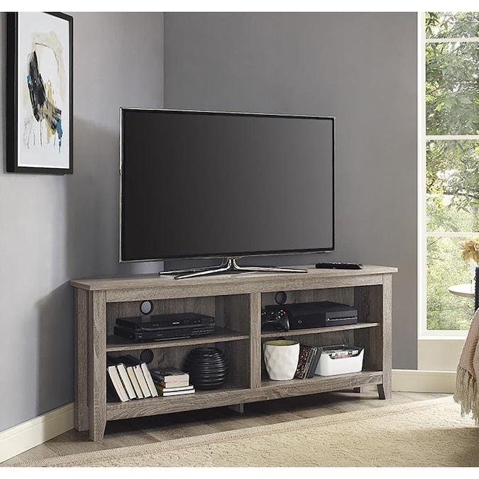 Walker Edison Driftwood Corner TV Stand (Accommodates TVs up to 55