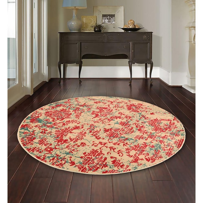 Round Indoor Abstract Vintage Area Rug, 5 Round Rugs