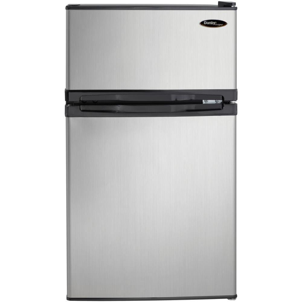 Danby Designer 3.1-cu ft Freestanding Mini Fridge Freezer Compartment (Stainless Steel) | DCR031B1BSLDD