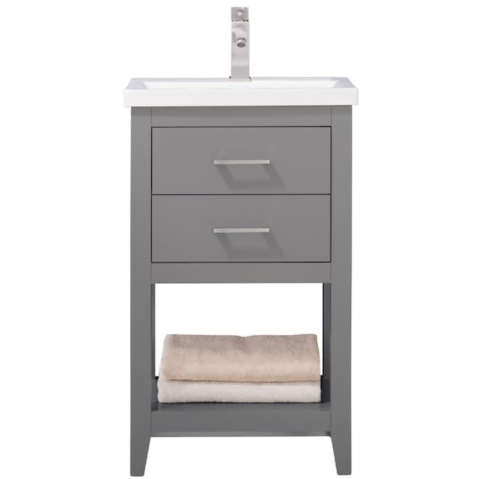Design Element Cara 20 In Gray Single Sink Bathroom Vanity With White Porcelain Top In The Bathroom Vanities With Tops Department At Lowes Com