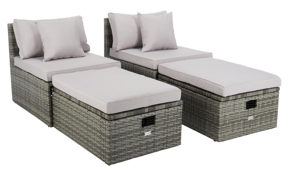 Safavieh Pramla 4 Piece Metal Frame, Safavieh Outdoor Furniture Gray