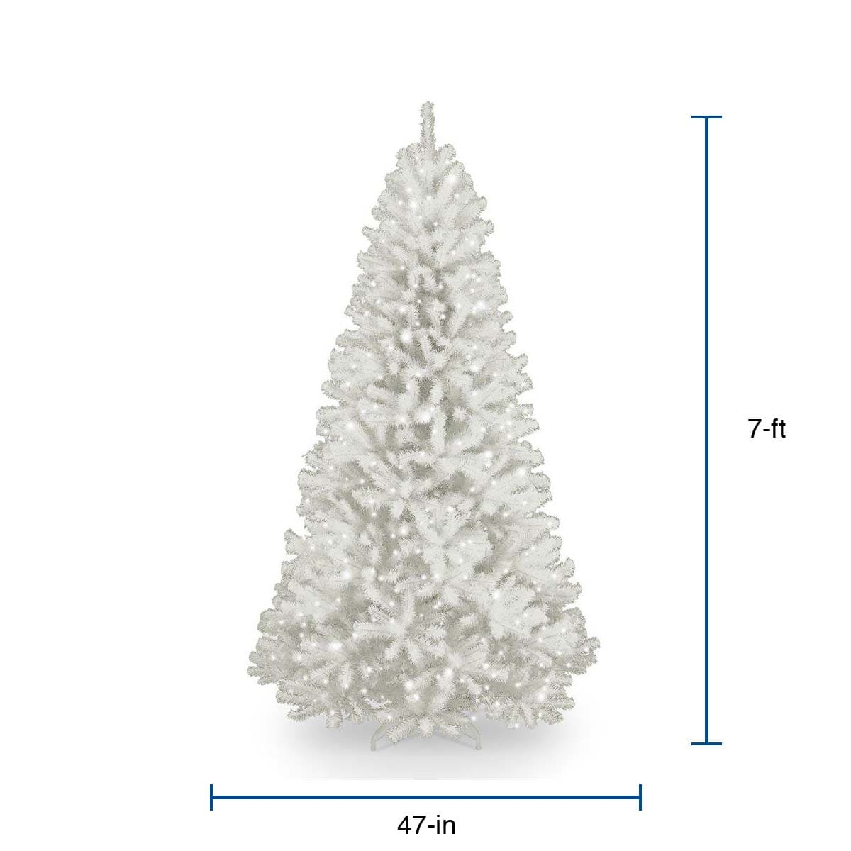 National Tree Company 7 Ft North Valley Spruce Pre Lit White Artificial Christmas Tree With 550 Constant White Clear Incandescent Lights In The Artificial Christmas Trees Department At Lowes Com