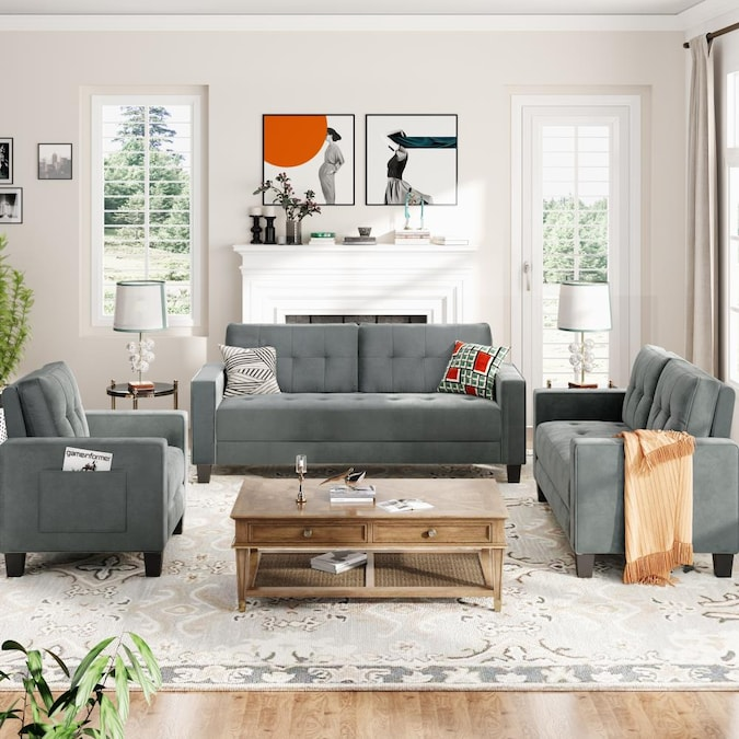 Clihome 3 Piece Velvet Sofa Set Moreen, Grey Living Room Sets