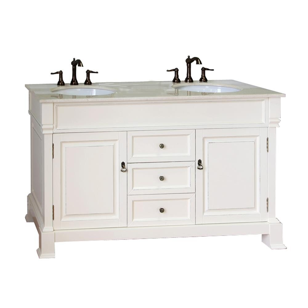 Bellaterra Home 60 In Cream White Rub Edge Undermount Double Sink Bathroom Vanity With Cream Natural Marble Top In The Bathroom Vanities With Tops Department At Lowes Com