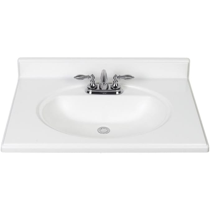 31 In White Cultured Marble Single Sink Bathroom Vanity Top In The Bathroom Vanity Tops Department At Lowes Com