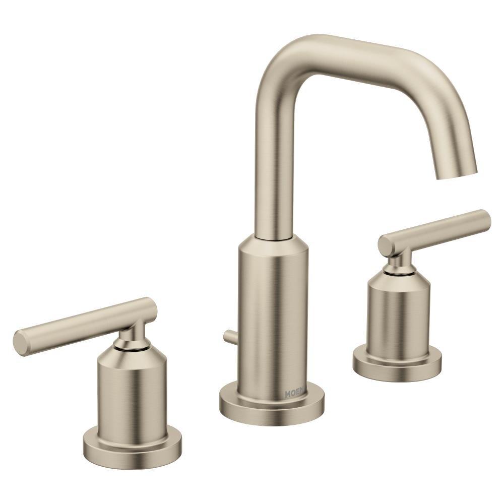 Moen Gibson Brushed Nickel 2 Handle 8, Bathroom Faucets Widespread Brushed Nickel
