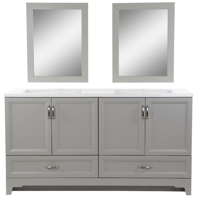 Style Selections 60 In Smoky Gray Undermount Double Sink Bathroom Vanity With White Cultured Marble Top Mirror Included In The Bathroom Vanities With Tops Department At Lowes Com