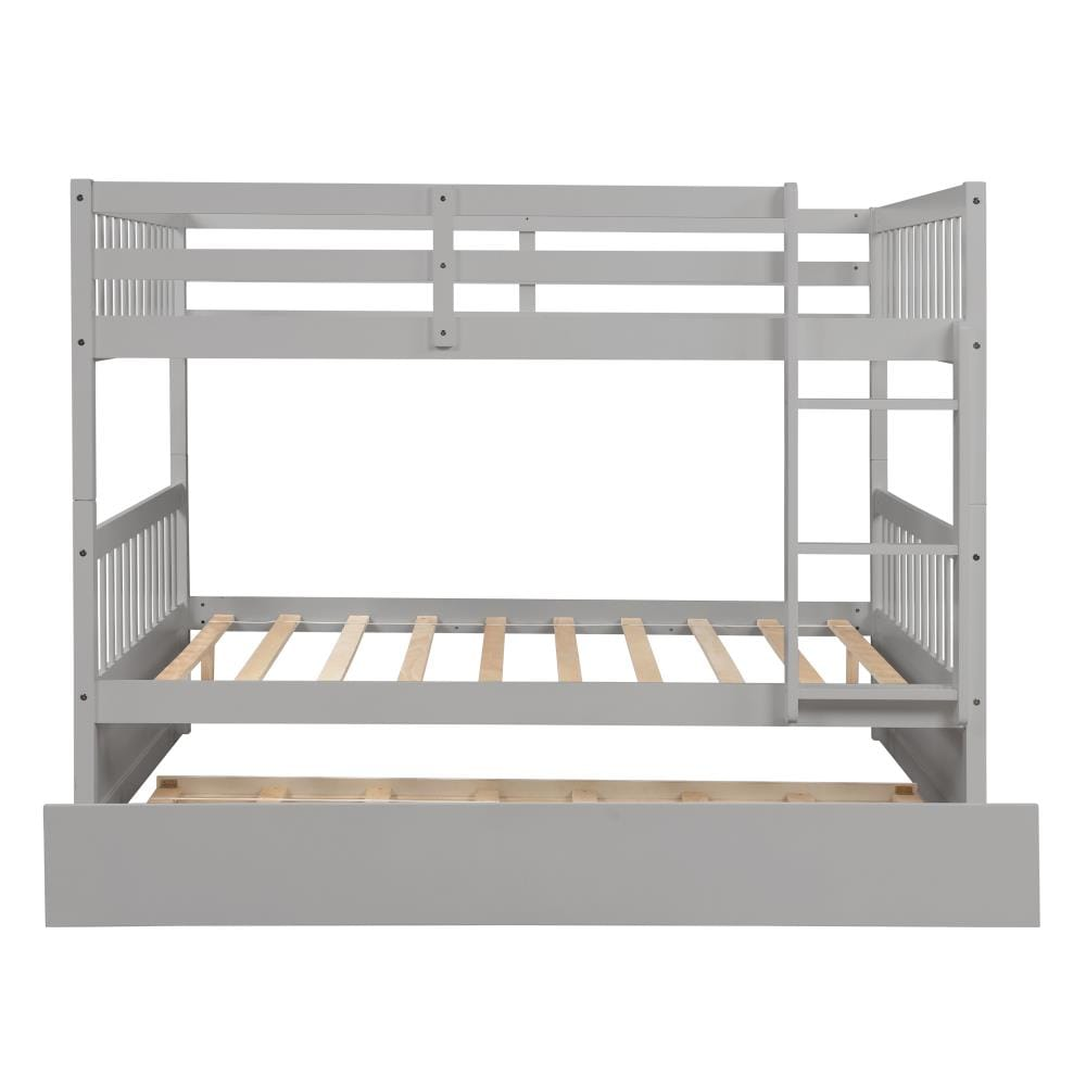Clihome Home Bunk Bed Full Over Full Bunk Bed With Trundle Built In Ladder Wood Frame Detachable Grey In The Bunk Beds Department At Lowes Com