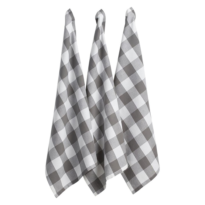 Dii Gray And White Buffalo Check Dishtowel Set 3 In The Kitchen Towels Department At Lowes Com