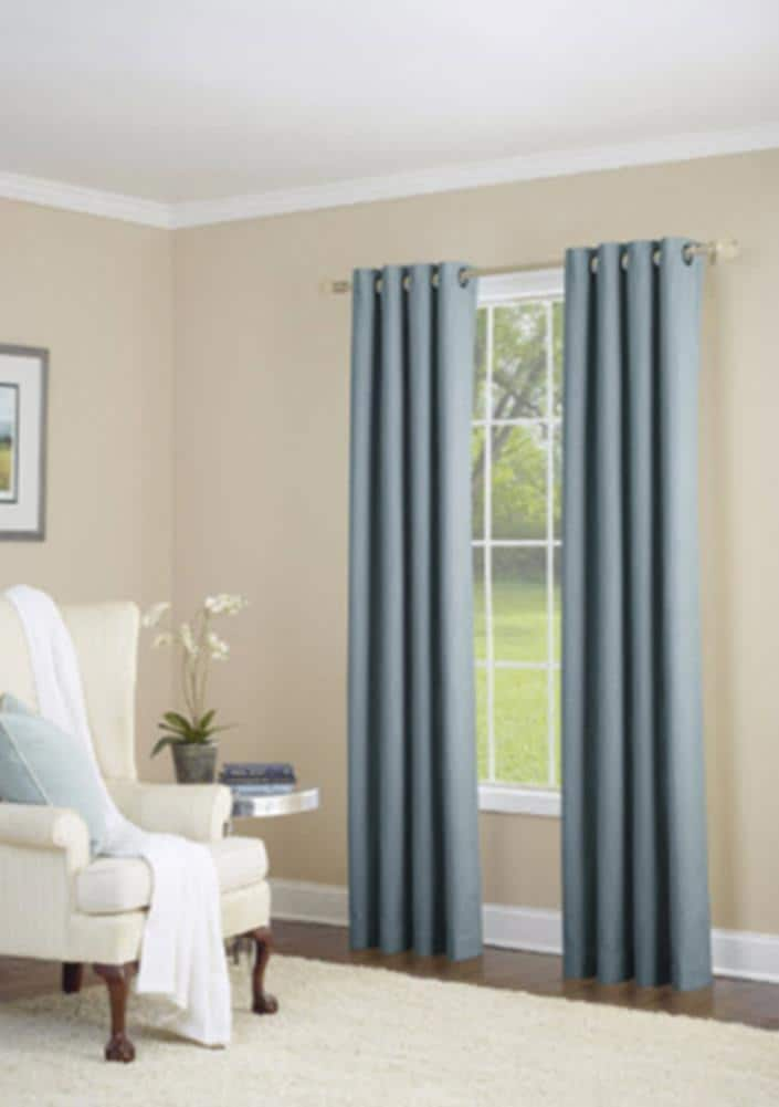 Allen Roth 63 In Sky Blue Faux Linen, Light Blue Curtains Living Room
