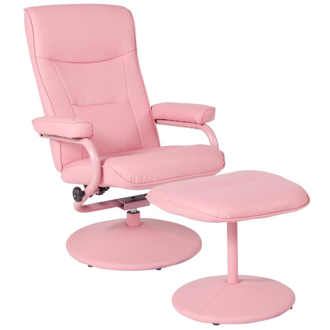 Flash Furniture Chelsea Pink Vinyl, Flash Furniture Reclining Office Chair With Ottoman