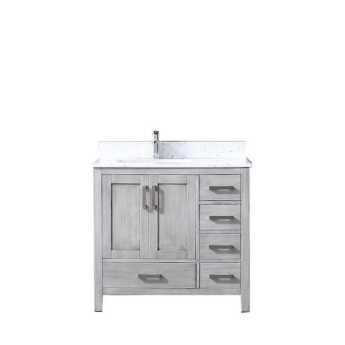 Lexora Jacques 36 In Distressed Grey Undermount Single Sink Bathroom Vanity With White Carrera Marble Top In The Bathroom Vanities With Tops Department At Lowes Com