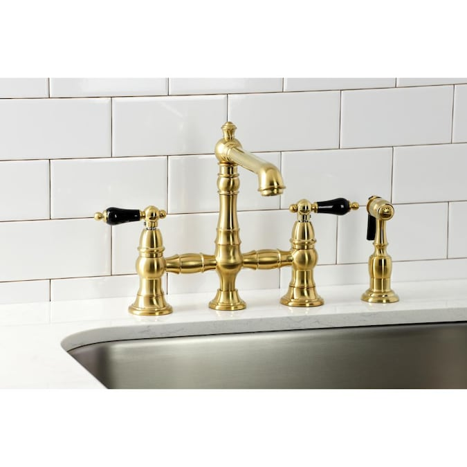 Kingston Brass Duchess Brushed Brass 2 Handle Deck Mount Bridge Handle Kitchen Faucet In The Kitchen Faucets Department At Lowes Com