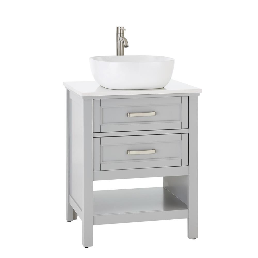 Style Selections Cromlee 24 In Light Gray Single Sink Bathroom Vanity With White Engineered Stone Top Faucet Included In The Bathroom Vanities With Tops Department At Lowes Com