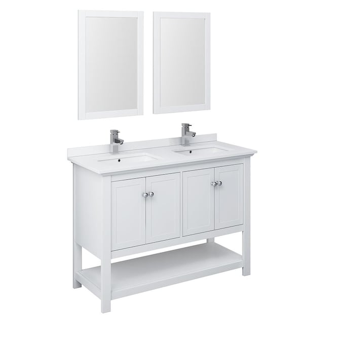 Fresca Cambria 48 In White Undermount Double Sink Bathroom Vanity With White Quartz Top Mirror And Faucet Included In The Bathroom Vanities With Tops Department At Lowes Com