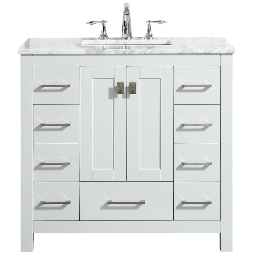 Eviva Hampton 36 In White Undermount, White 36 Inch Bathroom Vanity