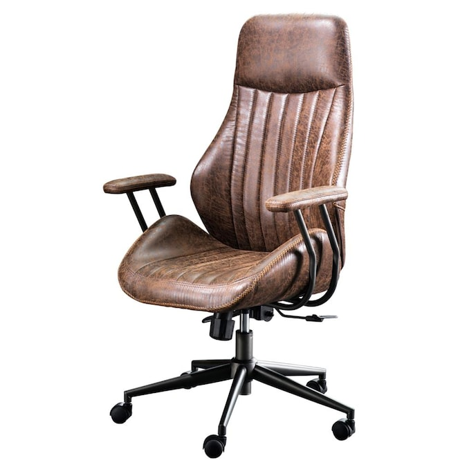 Ovios Krellack Dark Brown Contemporary, Brown Leather Office Chair
