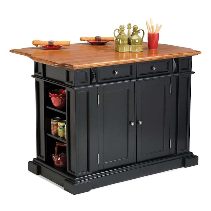 Home Styles Black Wood Base With Wood Top Kitchen Island 25 In X 48 In X 36 In In The Kitchen Islands Carts Department At Lowes Com