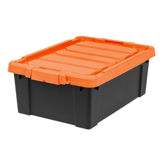 Iris 11 Gallon 44 Quart Black Orange, Orange Storage Totes With Lids